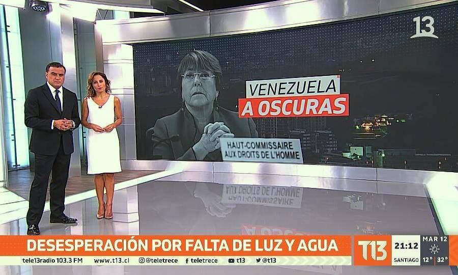 Denuncian a Canal 13 por imagen de Bachelet en reportaje sobre apagón de Venezuela